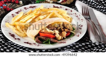 Gyros sandwich. - stock photo