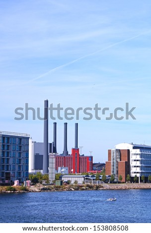 H. C. Oersted Power Station seen on a sunny day on the 7th of september 2013. It is  located at Enghave Brygge, Sydhavnen in Copenhagen