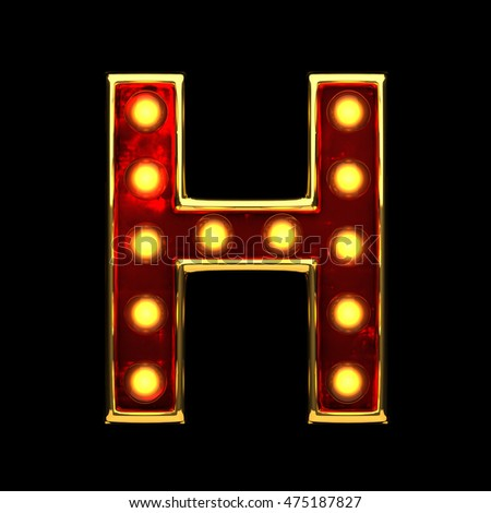 h isolated golden letter with lights on black. 3d illustration