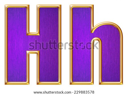 H letter of small and big from violet with gold shiny frame alphabet set, isolated on white. Computer generated 3D photo rendering.  - stock photo