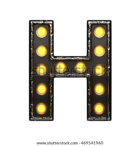 h metal letter with lights. 3D illustration