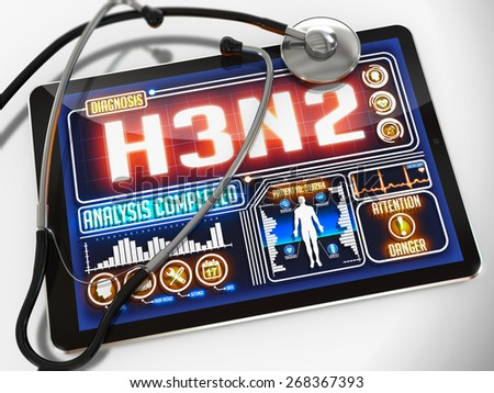 H3N2 - Diagnosis on the Display of Medical Tablet and a Black Stethoscope on White Background.