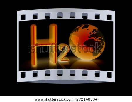 H2O. Formula of water on black background. The film strip - stock photo