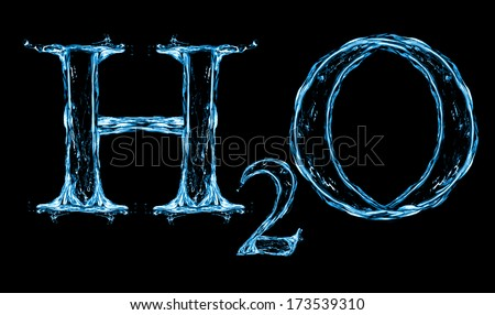 H2O Splash Water Formula isolated on a white background - stock photo