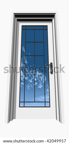 h resolution 3D closed door, isolated on white, over a natural sky