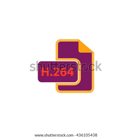 H264 video file extension. Color simple flat icon on white background - stock photo