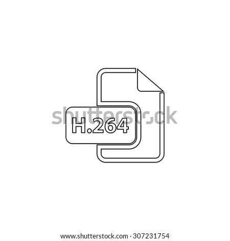 H264 video file extension. Outline black simple symbol - stock photo