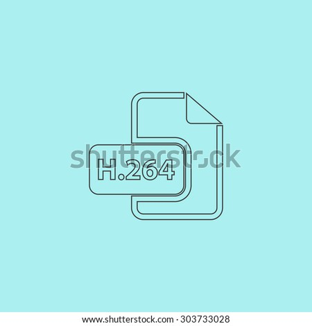 H264 video file extension. Outline simple flat icon isolated on blue background - stock photo