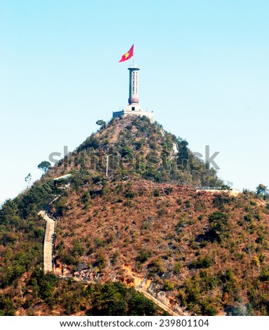 HA Giang, Vietnam, August 23, 2014, Lung Cu flag in Ha Giang, Vietnam. national borders China - stock photo
