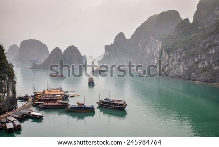 Ha Long Bay in a Gloomy Afternoon - Vietnam - stock photo