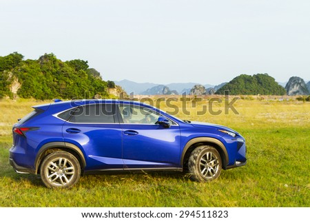 Ha Long, Viet Nam - July 1, 2015: Lexus NX 200t car running on the test road in Vietnam