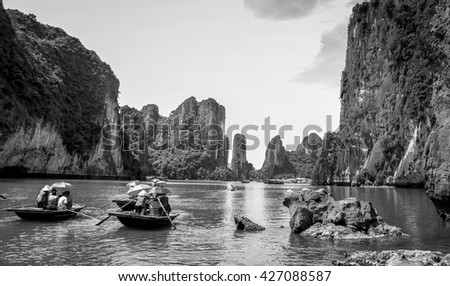HA LONG, VIETNAM, February 13, 2016 tourist boat on Ha Long Bay, a world natural heritage