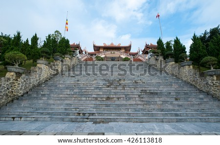 HA LONG, VIETNAM - 14 Nov 2015: Cai Bau Pagoda - Truc Lam Temple at Bai Tu Long Bay.