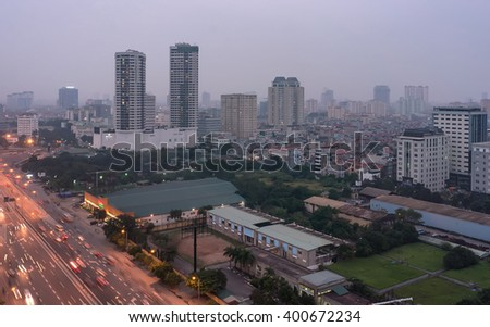 HA NOI, VIET NAM, April 2, 2016 the city of Ha noi, Vietnam, in the evening. many buildings