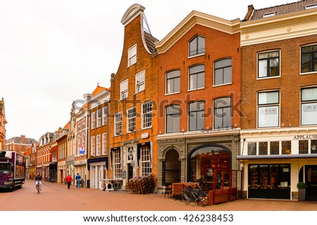 HAARLEM, NETHERLANDS - JUN 2, 2015: Historic centre of Haarlem, Netherlands. Haarlem is the capital of the province of North Holland