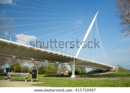 HAARLEMMERMEER, THE NETHERLANDS - May 04, 2016 - Calatrava Bridge Harp is one of three bridges in the  Haarlemmermeer, the Netherlands