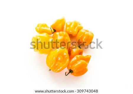 Habanero chili peppers on a white background. - stock photo