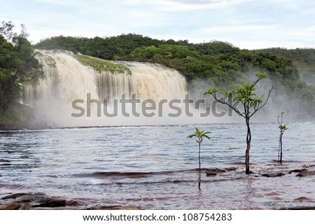 Hacha waterfall in the lagoon of Canaima national park after the storm - Venezuela, Latin America