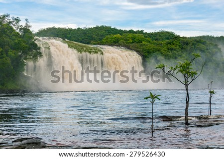 Hacha waterfall in the lagoon of Canaima national park before the storm - Venezuela  - stock photo