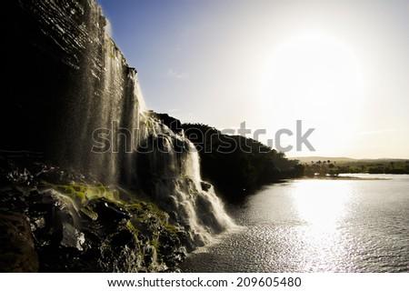Hacha Waterfall Sunset - Venezuela - stock photo