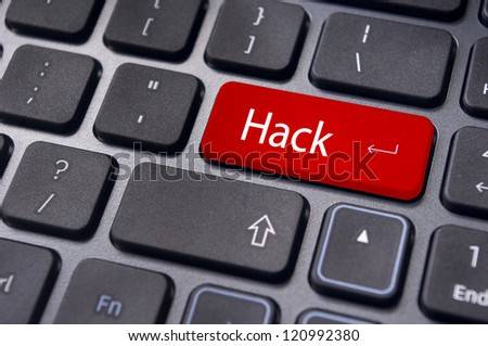hack concepts of computer security, with a message on keyboard enter key. - stock photo
