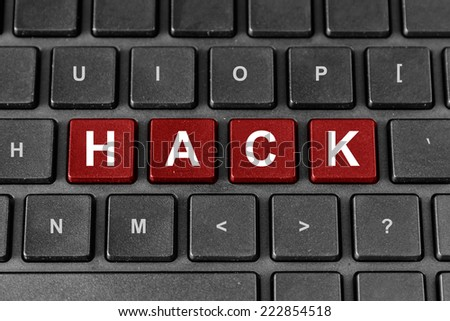hack red word on keyboard, technology concept - stock photo