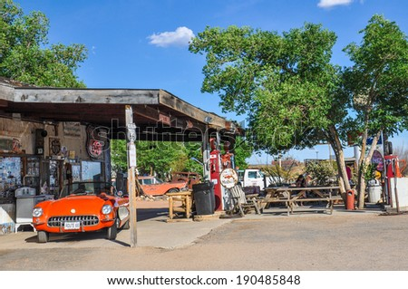 HACKBERRY, AZ - MAY 15, 2013: A classic corvette outside the antique Hackberry General Store - stock photo