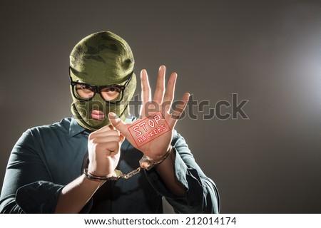 Hacker Arrested - stock photo