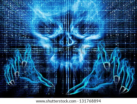 hacker attack concept blue illustration - stock photo