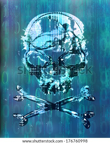 hacker attack with skull background - stock photo