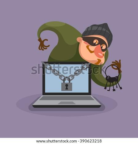 Hacker breaks into computer. Image data theft. - stock photo