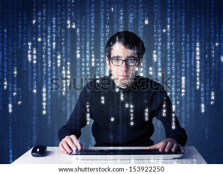Hacker decoding information from futuristic network technology with white symbols - stock photo