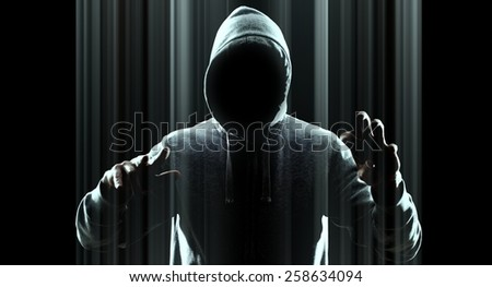 Hacker hacking on virtual computer - stock photo