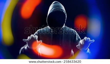 Hacker hacking software on virtual computer - stock photo