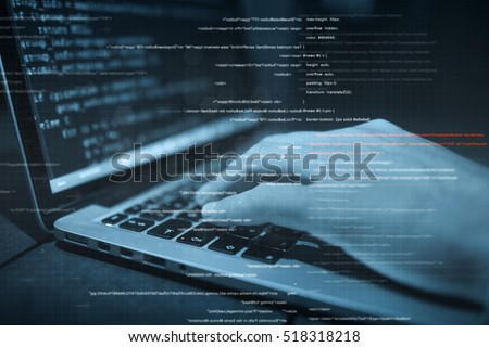 hacker hands at work with  interface around
