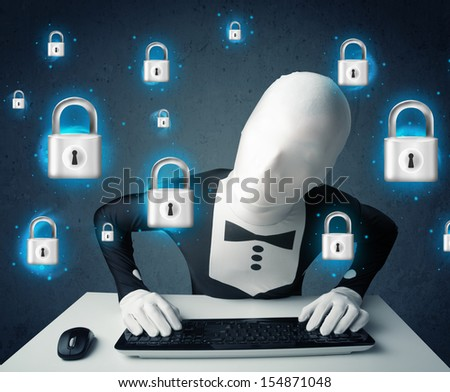 Hacker in disguise with virtual lock symbols and icons on blue background - stock photo