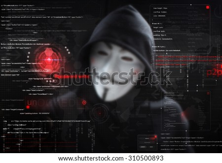 hacker in mask with graphic user interface around