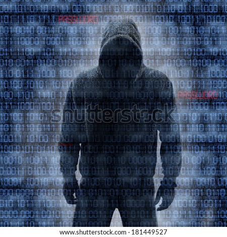 Hacker in Silhouette with Binary codes in Background