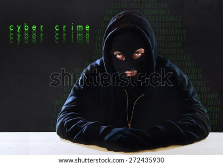 hacker man without face in black hood mask and gloves sitting  in business digital crack , assault of privacy and coded data, hacking expert sensitive information cracker and cyber crime concept - stock photo