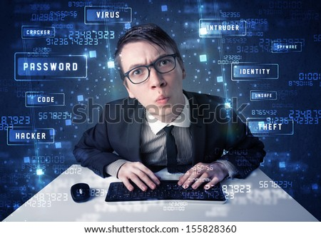 Hacker programing in technology environment with cyber icons and symbols - stock photo