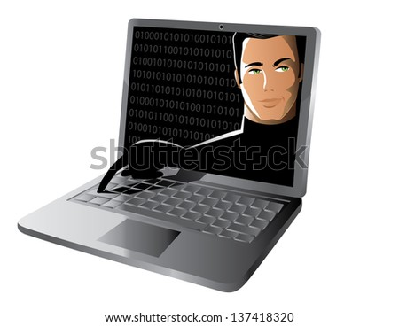 Hacker reaching from computer screen to steal data. jpg