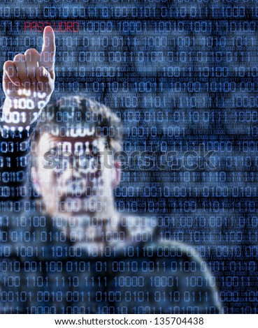 Hacker's hand pointing the password hidden into the binary codes - stock photo