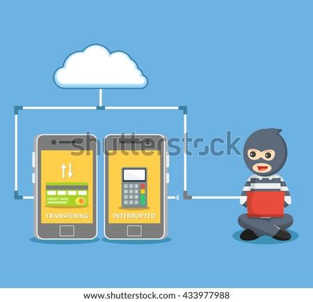Hacker take money transaction from smartphone - stock photo