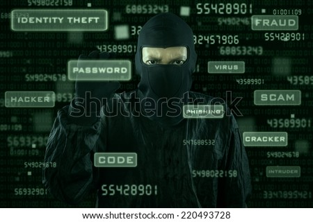 Hacker taking password from modern interface with dark background - stock photo