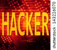 Hacker Text In red Code Background - stock photo