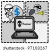 hacker thief money vector - stock photo