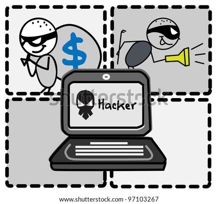 hacker thief money vector - stock photo