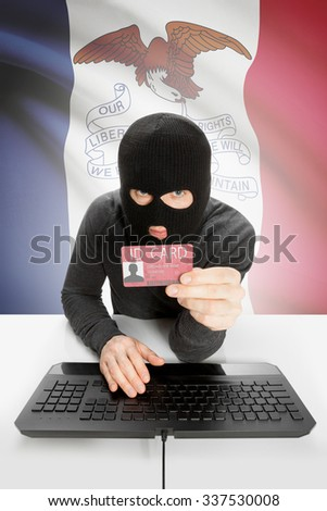 Hacker with ID card in hand and USA states flag on background - Iowa - stock photo