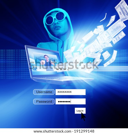 Hacker With Log On Screen,Computer Fraud,Financial Fraud, Concept Background - stock photo