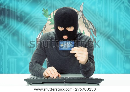 Hacker with US state flag on background - Oklahoma - stock photo